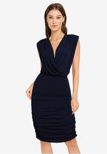 Goddiva navy Wrap Style Bodycon Mini Dress 1D0DAAA4DC821EGS_1