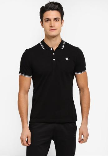 JAXON black Tipping Logo Polo Shirt 33AC2AA612B84DGS_1