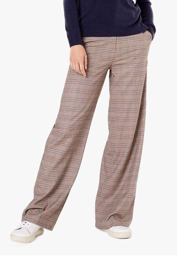 MARKS & SPENCER brown Checked Wide Leg Trousers 05C48AA079B58FGS_1