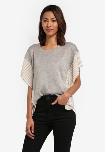 Contrast Pleated T-Shirt 3c7623b83