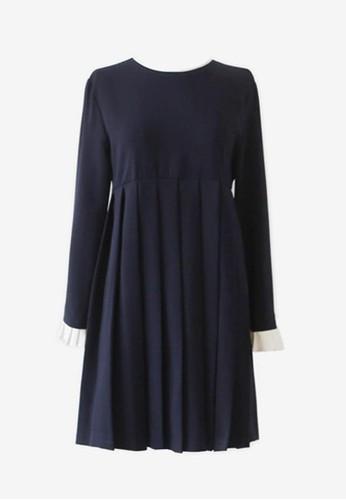 淑女風百zalora時尚購物網評價褶連衣裙, 服飾, 短洋裝
