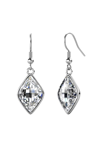 LOVE AND LIFE white Love & Life Queen Princess Diamond Earrings (Clear Crystal - White Gold) embellished with Crystals from Swarovski F2A21ACFCA05A4GS_1