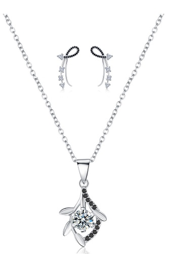 A-Excellence white Premium Elegant White Sliver Necklace Earring Set 531C0AC5EEDC1AGS_1