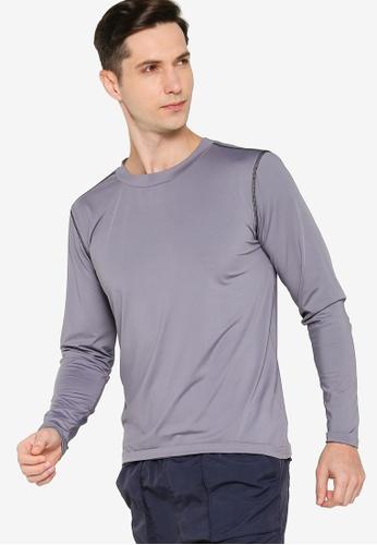 ZALORA ACTIVE grey Contrast Stitching Long Sleeve T-Shirt 13AA6AA16683E1GS_1