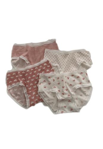 Seoul in Love white and orange Soft pure cotton panties  underwear  set in Sunset orange 765EAUSD3C5721GS_1
