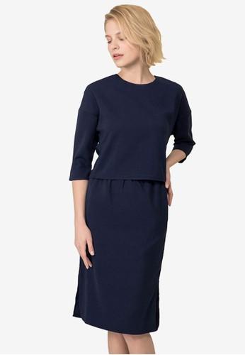 Kodz navy Long Sleeve Top and Skirt Set 9B5F2AAEE76DB2GS_1