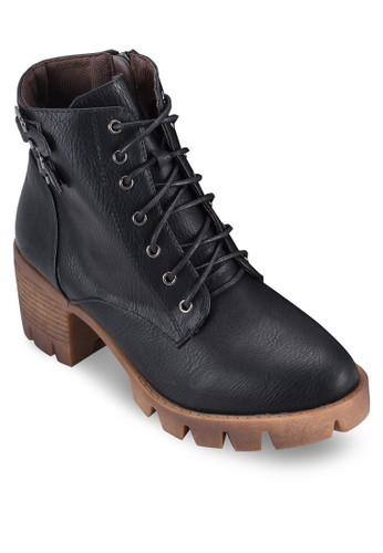 雙扣環繫帶esprit outlet 台灣厚底粗跟短靴, 女鞋, 鞋