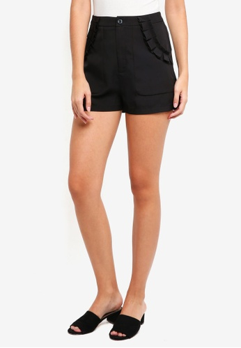 ZALORA black Ruffles Pocket Detailed Shorts D4E93AA7ED0403GS_1