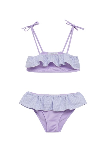 MANGO KIDS purple Ruffled Print Bikini 1860CKA1B76F93GS_1