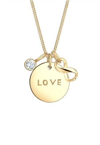 Elli Germany gold Perhiasan Wanita Perak Asli - Silver Kalung Infinity Love Swarovski® Crystal Emas Emas EL948AC0UBOKID_1