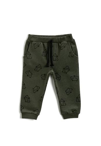 KOTON green Fox Sweat Bottoms C8921KACE89B6BGS_1