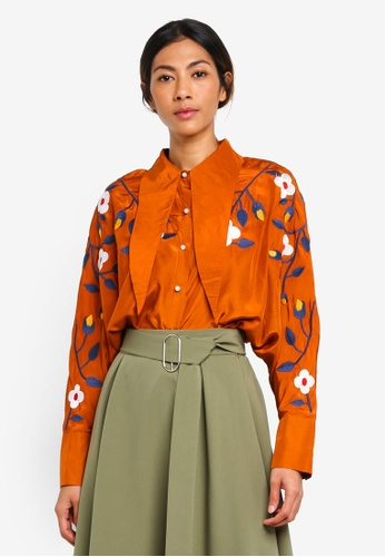 Haute Kelly orange Eun-Byul Embroidered Shirt 52096AA19CE4B7GS_1