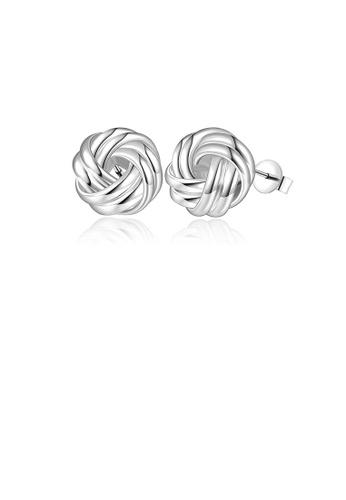 Glamorousky silver Simple and Elegant Twist Stud Earrings 94CEAAC7ED0012GS_1