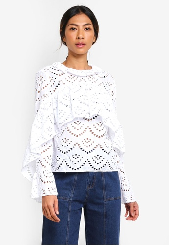 TOPSHOP white Broderie Ruffle Top 468CCAAB1C646EGS_1