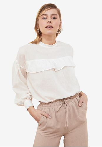Trendyol white Stand Collar Wide Cut Flounce Blouse DD51CAADCC4419GS_1
