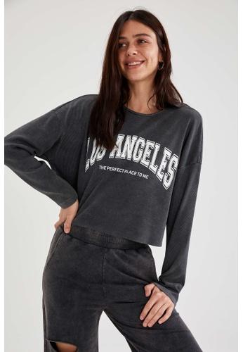 DeFacto grey Woman Knitted Long Sleeve T-Shirt CC3ADAACF2B786GS_1