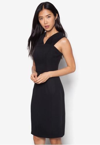 V 領寬肩帶zalora 台灣及膝洋裝, 服飾, 緊身洋裝