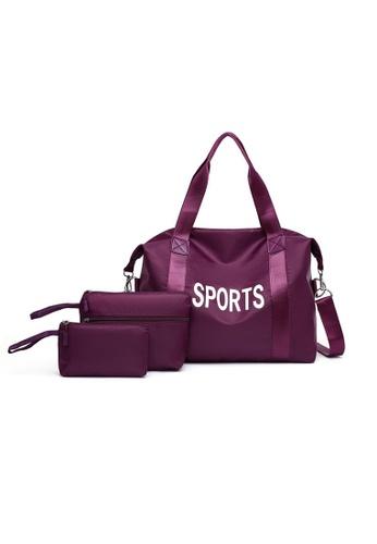 Lara purple Women's Sports Nylon Zipper Cross-body Bag Handbag (3-piece Set) - Purple B5D18AC8CC8A3FGS_1