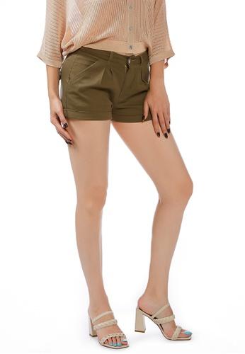 London Rag brown Khaki Pleated Shorts 5244DAA44DDFA3GS_1