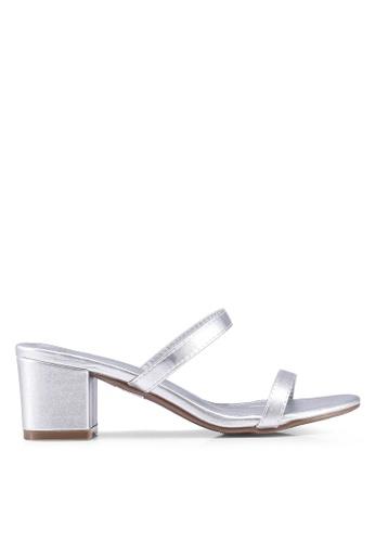 DMK 銀色 懶人鞋 粗跟 涼鞋 1218BSHA5DC068GS_1