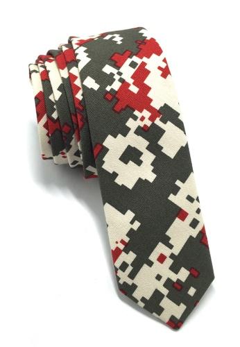 Splice Cufflinks Potpurri Series Red & Grey Pixel Design Cotton Tie SP744AC76QMTSG_1