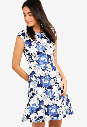 ZALORA multi and navy Pleat Detailed Dress EF7A4AAE42CD7FGS_1