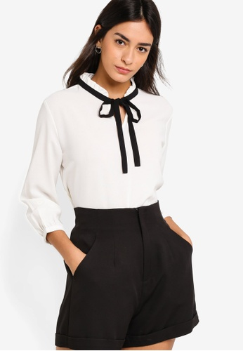 ZALORA white Tie Neck Blouse With Ruffled Detail B003BAABE1DE22GS_1