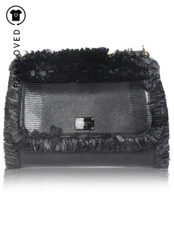 Dolce & Gabbana black Pre-Loved dolce & gabbana Siciliy Medium Lizard-Effect Leather Tote Bag With Fringes CA345AC82701D3GS_1