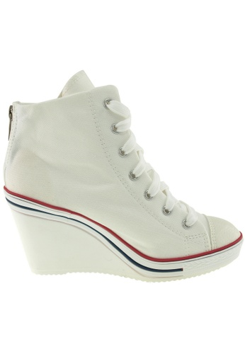 Maxstar white Maxstar Women's 775 Back Zipper Canvas Wedge Heel Sneakers US Women Size MA164SH06PUBSG_1