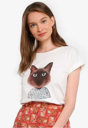 Compania Fantastica white Flower Cat T-Shirt 215A9AA7ACB26CGS_1