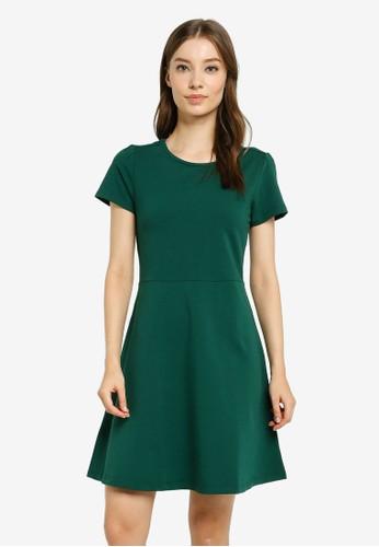 UniqTee green Core Fit & Flare Dress 64937AACC3D1B3GS_1