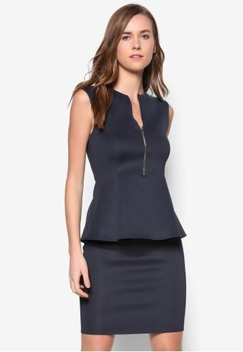 拉鍊腰飾緊身連身裙, 服飾zalora 折扣碼, 洋裝