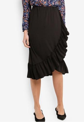 ZALORA black Ruffles Wrap Skirt 17807AA26FDDB7GS_1