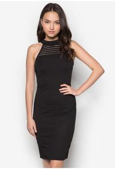 Love Sheer Stripe Halter Midi Dress