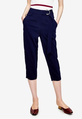 Hopeshow navy Belted Capri Pants 94644AA54DF5E0GS_1