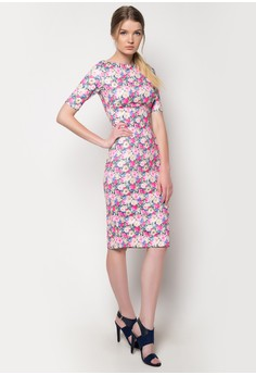 Printed Scuba Fluro Floral Bodycon Dress