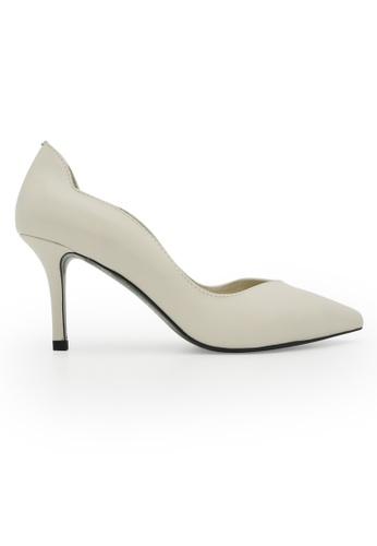 Gripz white Lulo Scallop Edge Pointed Toe Heels 371E1SH8FA7489GS_1