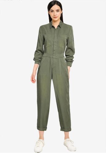Superdry 綠色 天絲棉 連身褲 - Original & Vintage CFB4AAAF80D664GS_1