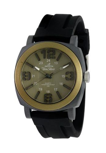 UniSilver TIME black Konvex Stencil Analog Rubber Watch KW1134-1003 UN802AC0KAPJPH_1