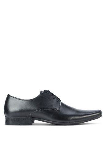 Topman black Bloom Leather Derby Shoes TO413SH16WBZMY_1