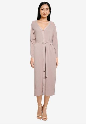 GLOBAL WORK beige Ribbed Button Knit Dress 38408AA1FCBFDDGS_1