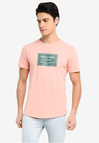 Abercrombie & Fitch pink Print Logo Corp T-Shirt C6964AA2EEC2A6GS_1