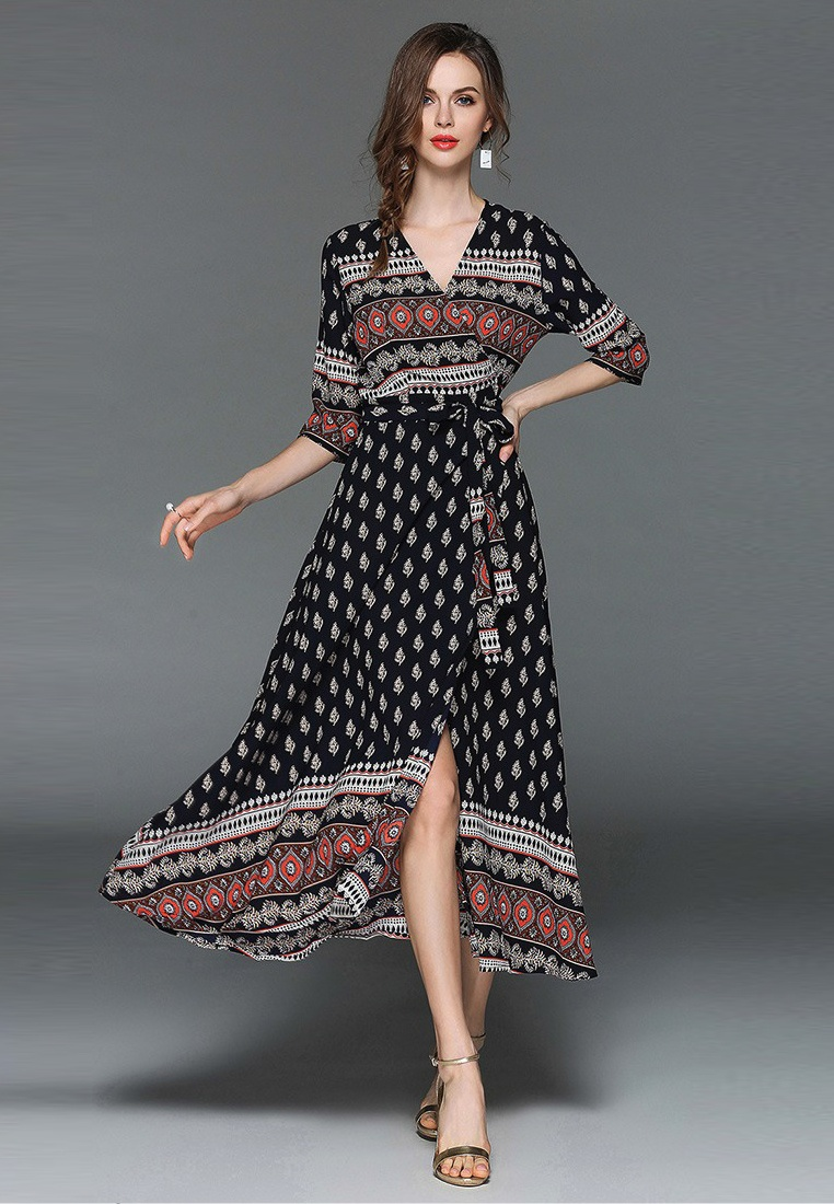 Piece Wrapped Neck V One New 2018 Sunnydaysweety Dress A050328 Multi ZCq47wqxnX