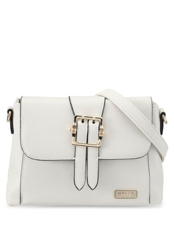 Unisa white Pin Buckle Saffiano Sling Bag UN821AC0SRVHMY_1