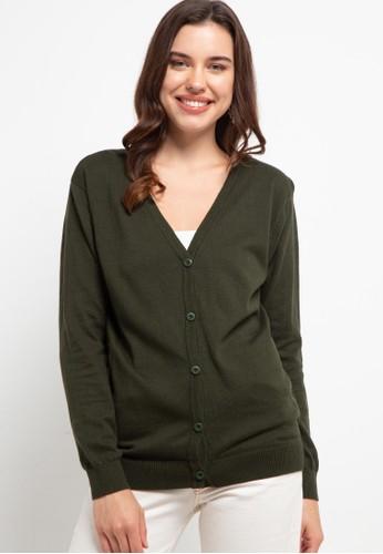 Button On green Women Cardigan 9D54FAA71A749BGS_1