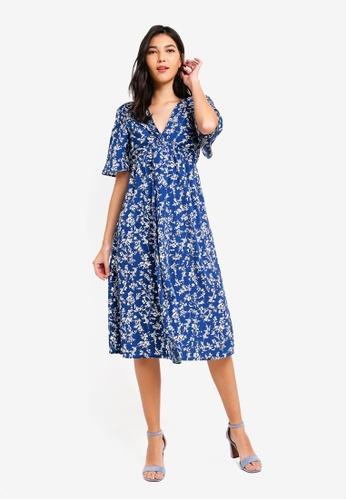 ZALORA blue Twist Front Midi Dress 6CD82AA7FDF1B8GS_1