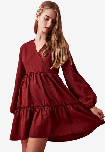 Trendyol red Ruffled Tier Wrap Dress C2218AA1AF5906GS_1