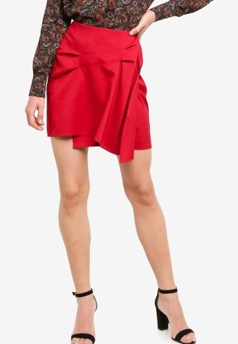 ZALORA WORK red Asymmetric Flare Skirt 58549AA60B58E2GS_1