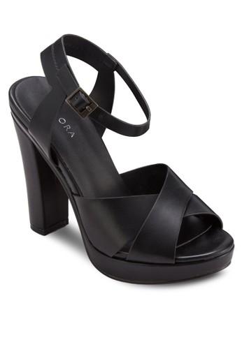 交叉zalora開箱帶繞踝高跟涼鞋, 女鞋, 鞋