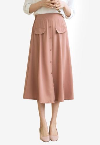 Tokichoi pink Utility Button Down Midi Skirt 83A2FAA36AFE02GS_1